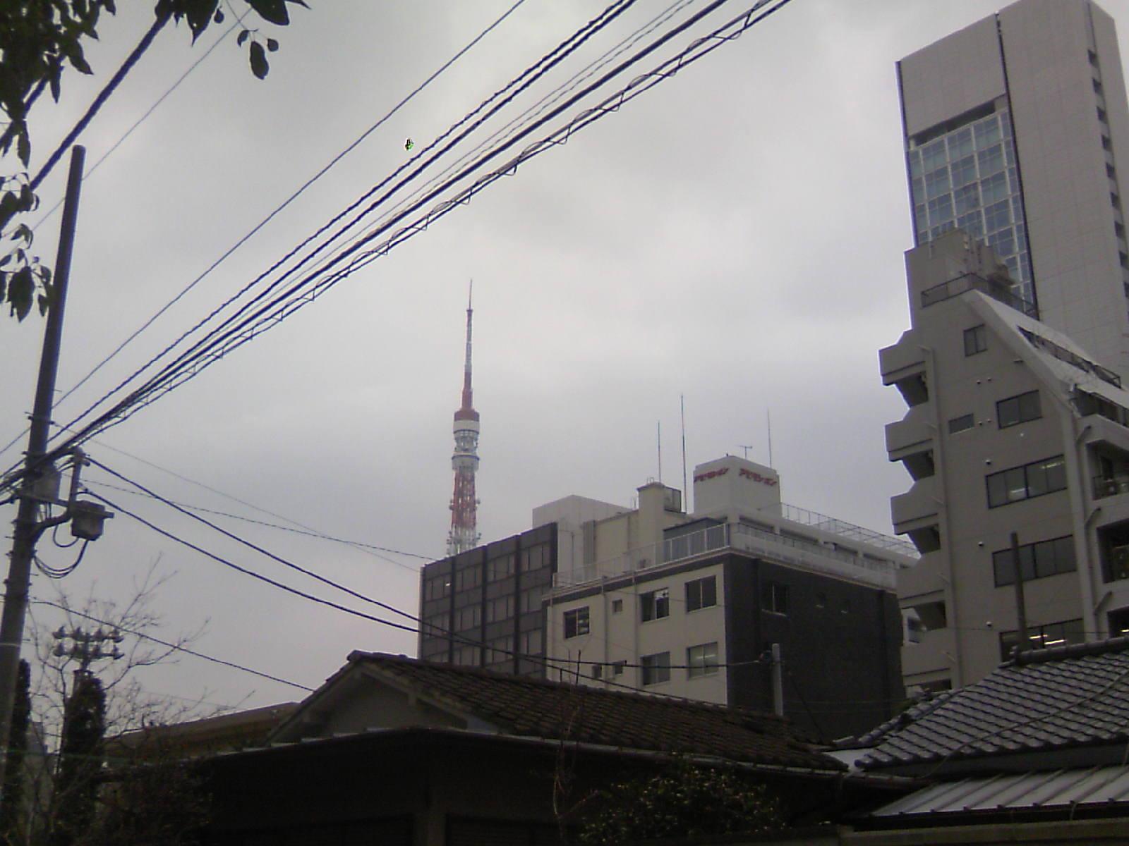 東京タワーが曲がってる